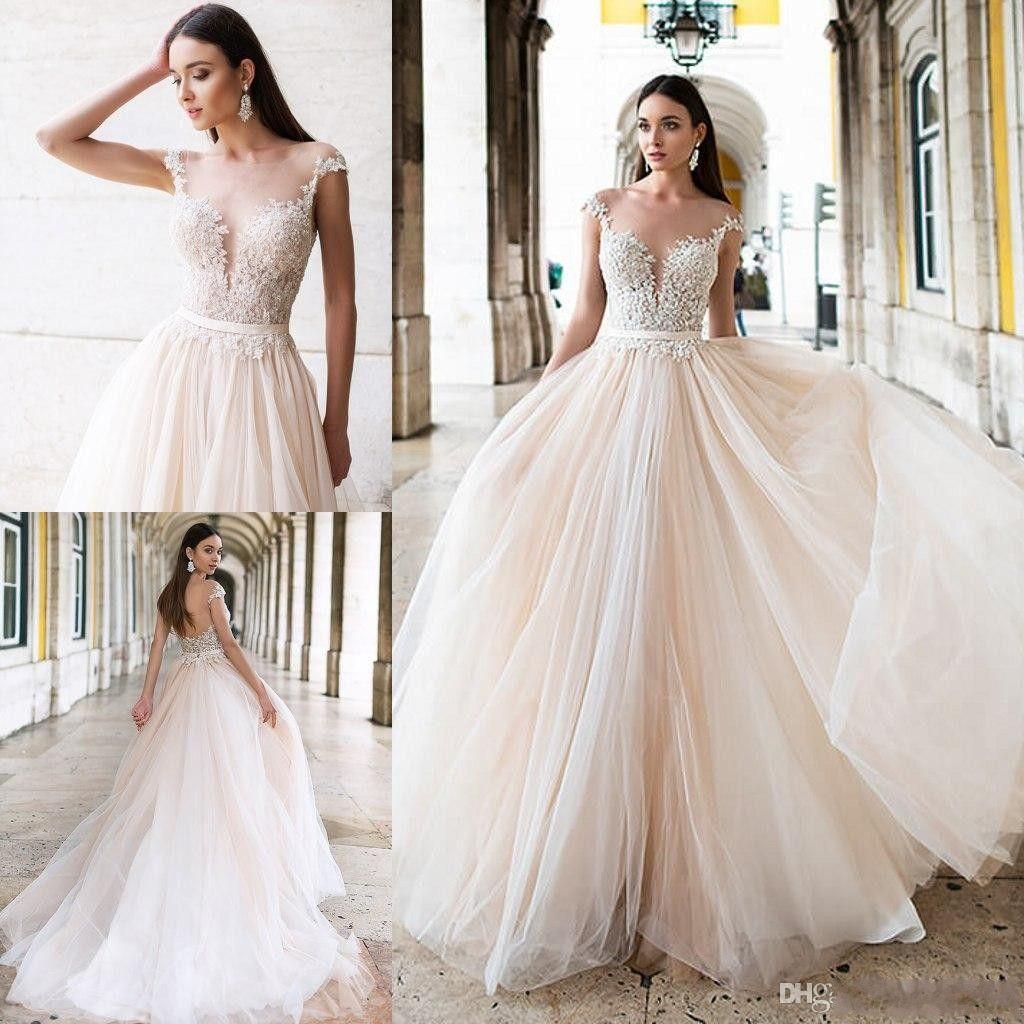 386c8e102e5a Discount Oksana Mukha 2019 Vintage Wedding Dresses Romantic A Line Sheer Neck  Lace Princess Bridal Gowns Cheap Custom Made Beach Wedding Dress Black And  ...