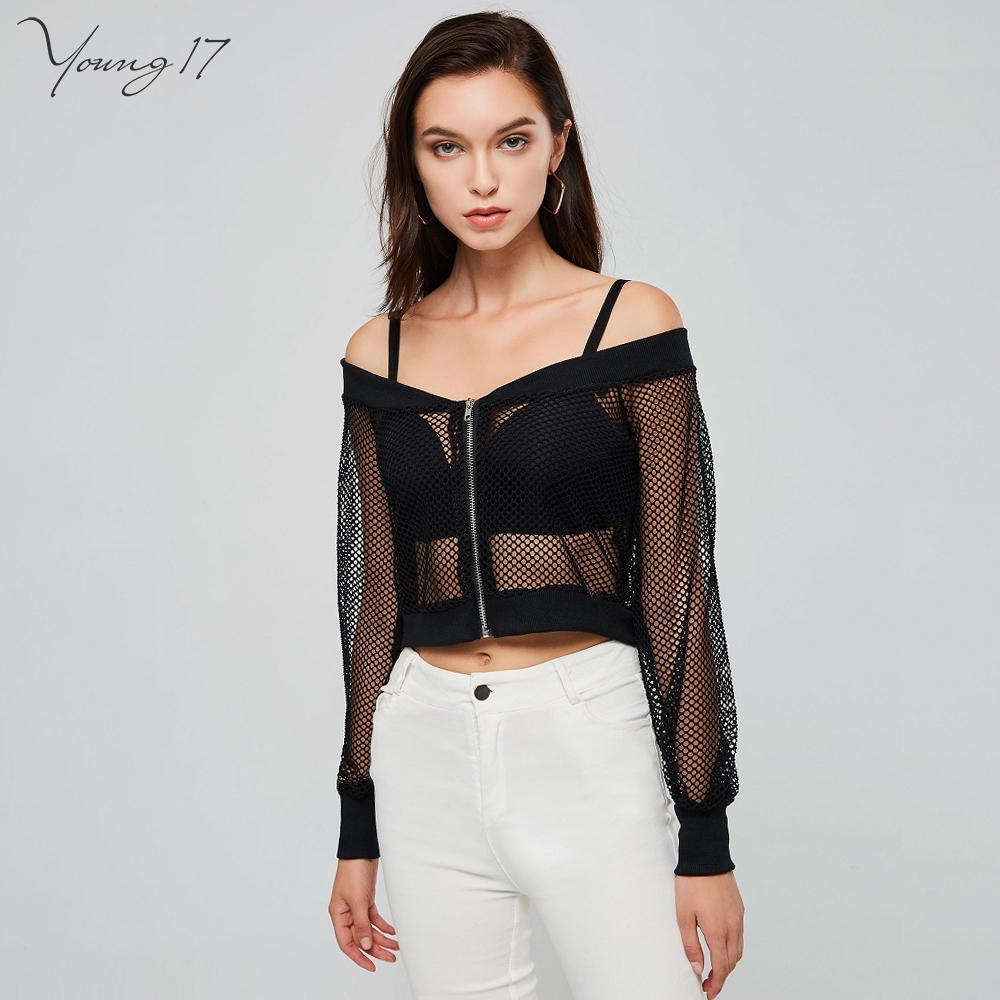 b95e2f03b1c 2019 Spring Women Loose Hip Hop Short T Shirt Black Off Shoulder Zipper  Backless Mesh Hole Crop Top See Through Streetwear C19041501 From Shen8407,  ...