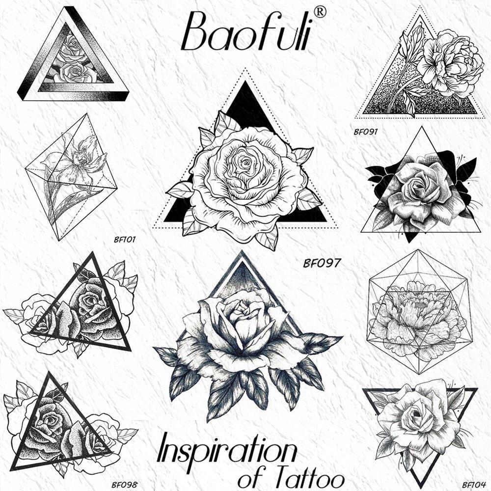 Geometric Rose Triangle Temporary Tattoos Sticker Peony Flower Leaves Black  Fake Tatoo Draw Body Art Waterproof Arm Neck Tattoos