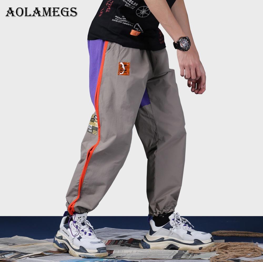 Compre Pantalones Aolamegs Hombres Patchwork Side Striped Track Pantalones  Moda Masculina Cintura Elástica Hip Hop Joggers Pantalones De Chándal  Streetwear ... 84b9c05524b