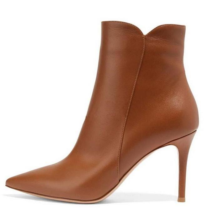 94950fa28fd Top Quality Brown Leather Boots Women Pointed Toe Cut Out High Heel ...