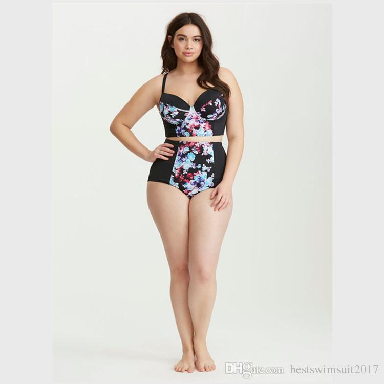 028f713e65abe ... 2019 Vintage Fashion Print Swimwear For Women Plus Size Swim Wear  Bathing Suit Push Up Padded ...