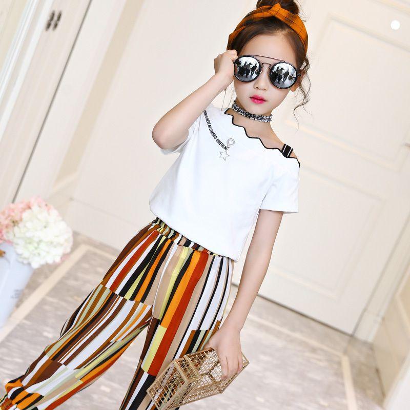 00bbc811f Compre Verano 2019 Moda Infantil Moda Niños Ropa Conjuntos 2 Unids Blusas  Blancas Camisas + Pantalones Trajes Ropa Para Niñas Adolescentes Conjuntos  10 12 ...