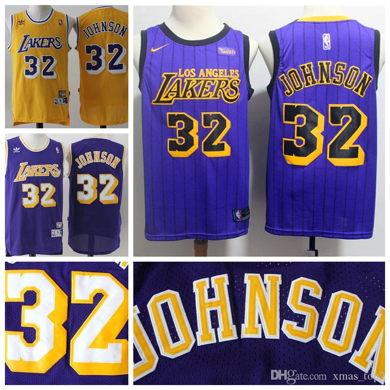 Mens 32 Earvin Johnson Retro Los Angeles Jersey Lakers Basketball ... bd93c12652