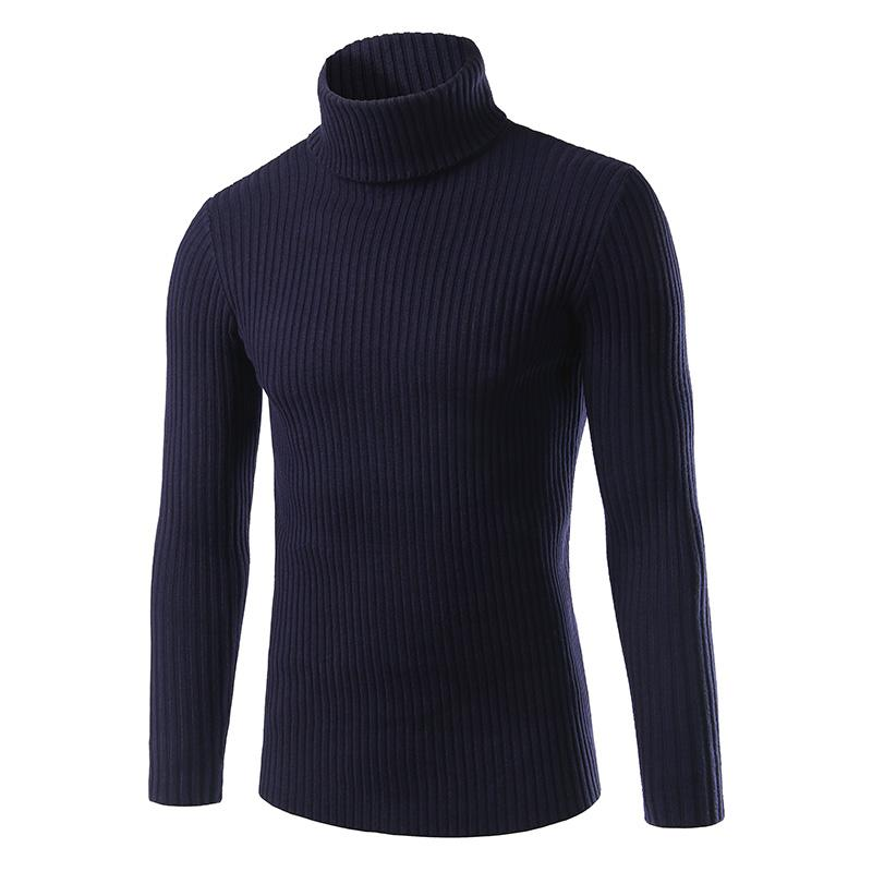 Autumn and winter 2018 new men's brand sweater casual solid color turtleneck men's Slim high quality warm knitted pullover M-3XL