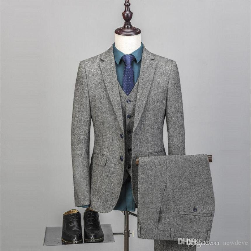 2019 New Wedding Tuxedos Abito da sposa vintage da uomo 3 pezzi Tweed Fleck 2 Button Wool Grigio Tailored Fit Groom Wear Jacket Pants Vest
