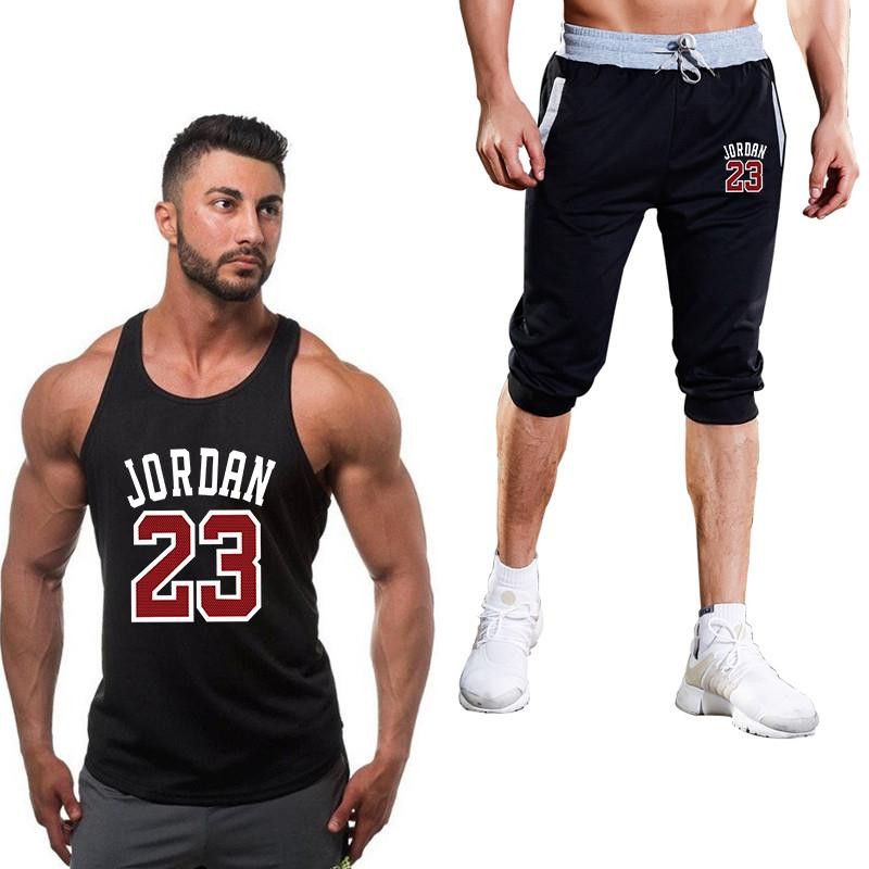 b3bc2d7766e4 2019 23 Sportsuits Set Men Brand Fitness Suits Summer Top Short Set Mens O  Neck Fashion Tank Top Shorts Tracksuit From Meicloth