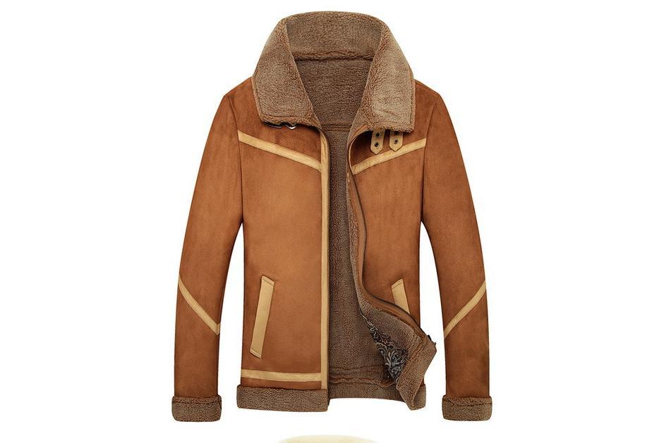 Neue Männer Wildleder Lederjacken Winter Pelzmäntel Vintage Kamel Kaffee Mann Wolle Oberbekleidung Warme Fleece Futter Plus Größe M 4XL