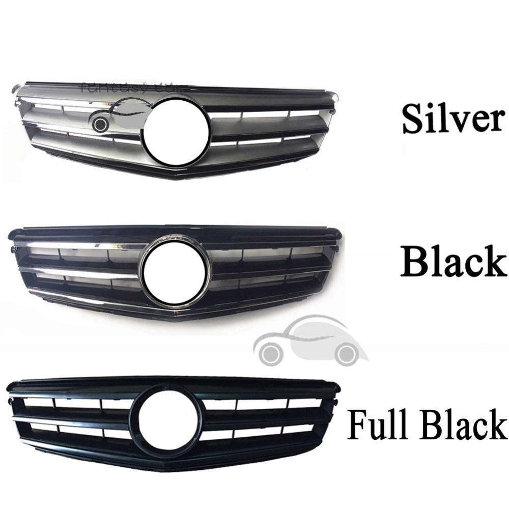 fit for Mercedes Benz C-CLASS W204 2008 2009 2010 2011 2012 2013 2014 AMG  Grille C180 C200 C300 Black Grill Silver