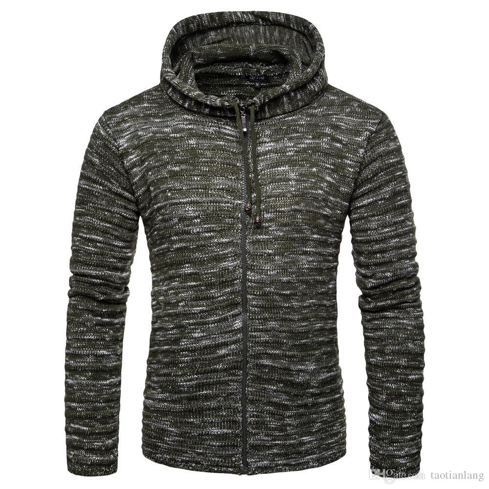 8bb8c05c4841c 2019 Men S Sweater Autumn Winter Pullovers Knitted Cardigan Coat Hooded  Sweaters Jacket Outwear Casual Slim Fit Hoodies Knitwear For Men J18 From  ...