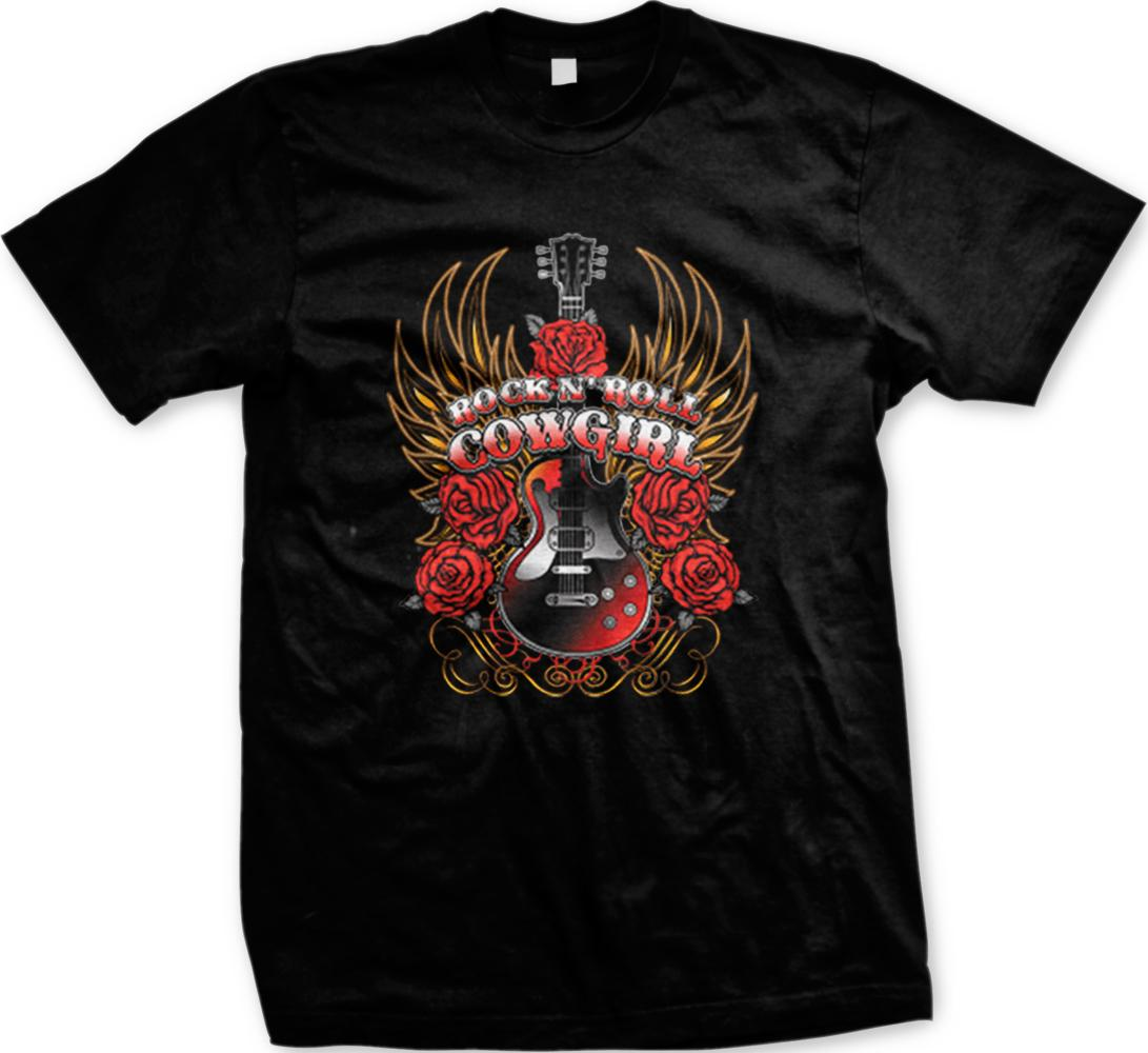 3c0bc408 Rock N Roll Cowgirl Guitar Roses Wings Southern Country Mens T-shirt 2018  Men'S Lastest Fashion Short Sleeve Printed funny T-Shirt