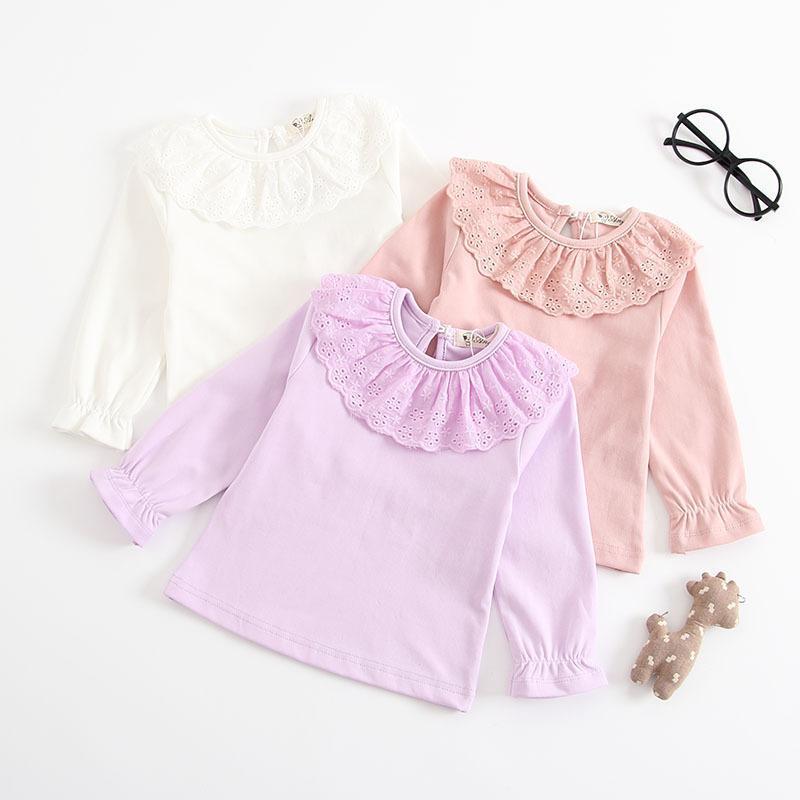 ed749cafa1b15 Acheter Bébé Fille T Shirt Enfant Enfants Automne Casual Tops O Cou Évider  Volants À Manches Longues Princesse Blouse Coton T Shirt Vêtements De  31.6  Du ...