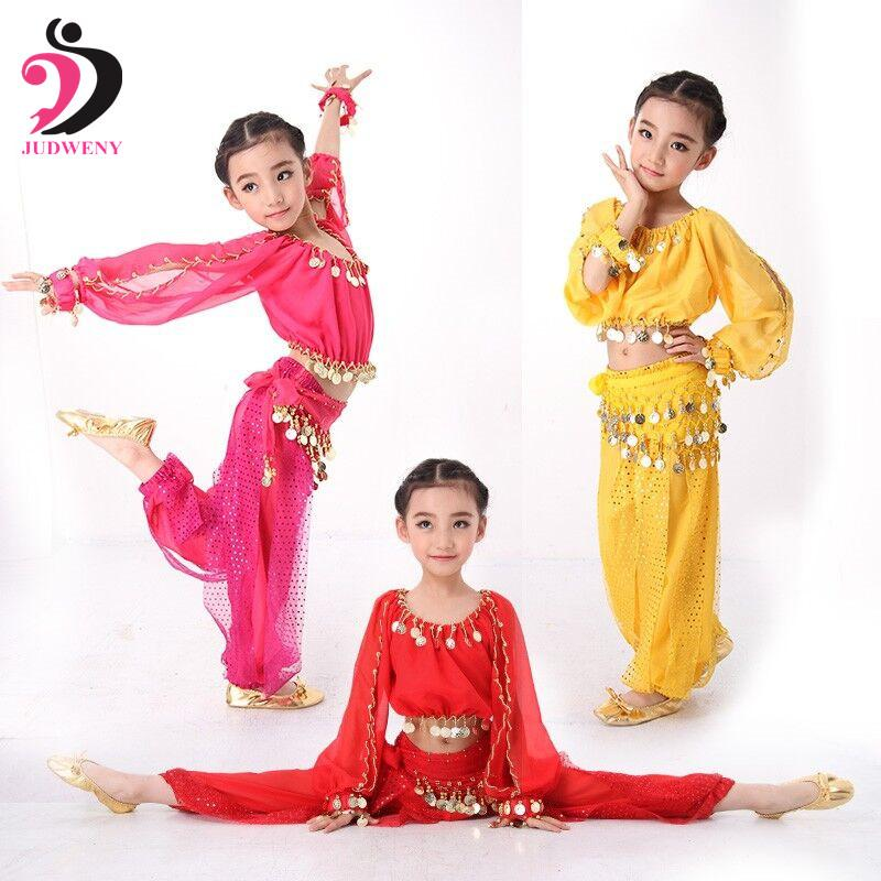 Bellydance Kids Belly Dance Costumes for Children Belly Dancing Set Girls Bollywood Indian Performance Handmade Clothes 3 Colors