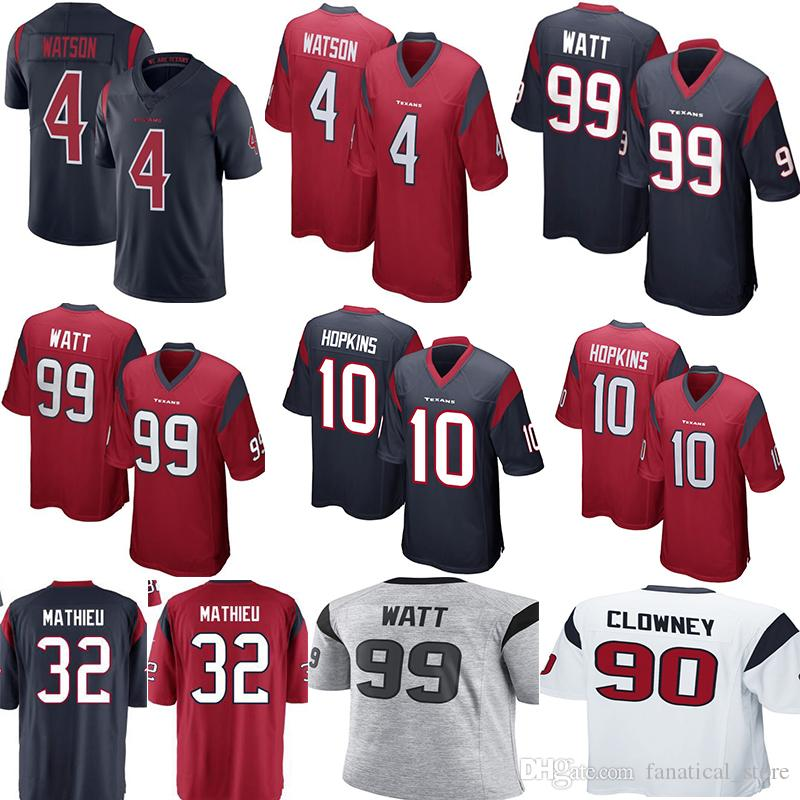sports shoes 00849 00112 Houston Texan 4 Deshaun Watson 99 J.J. Watt Jersey Mens 90 Jadeveon Clowney  32 Tyrann Mathieu Football Jerseys