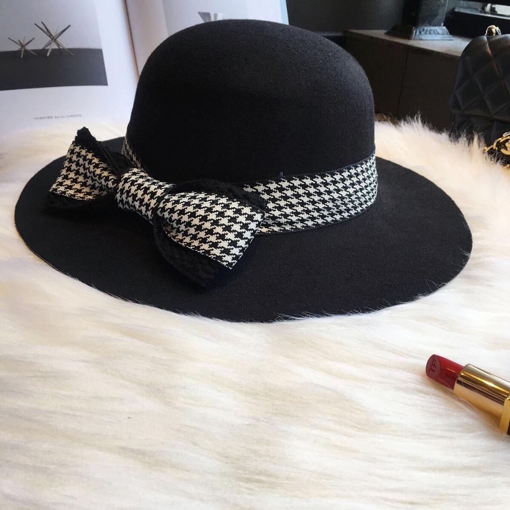 British Retro Japanese Black Houndstooth Bow Flat Top Wide Hat Wool ... e386f6a7377