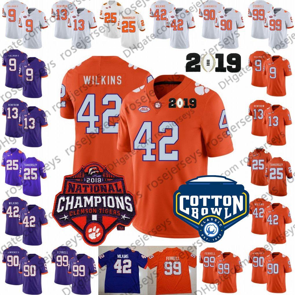 hot sale online 97046 0edcc 2019 Clemson Tigers #13 Hunter Renfrow 42 Christian Wilkins 90 Dexter  Lawrence II 99 Clelin Ferrell Orange Cotton Bowl NCAA Champions Jersey