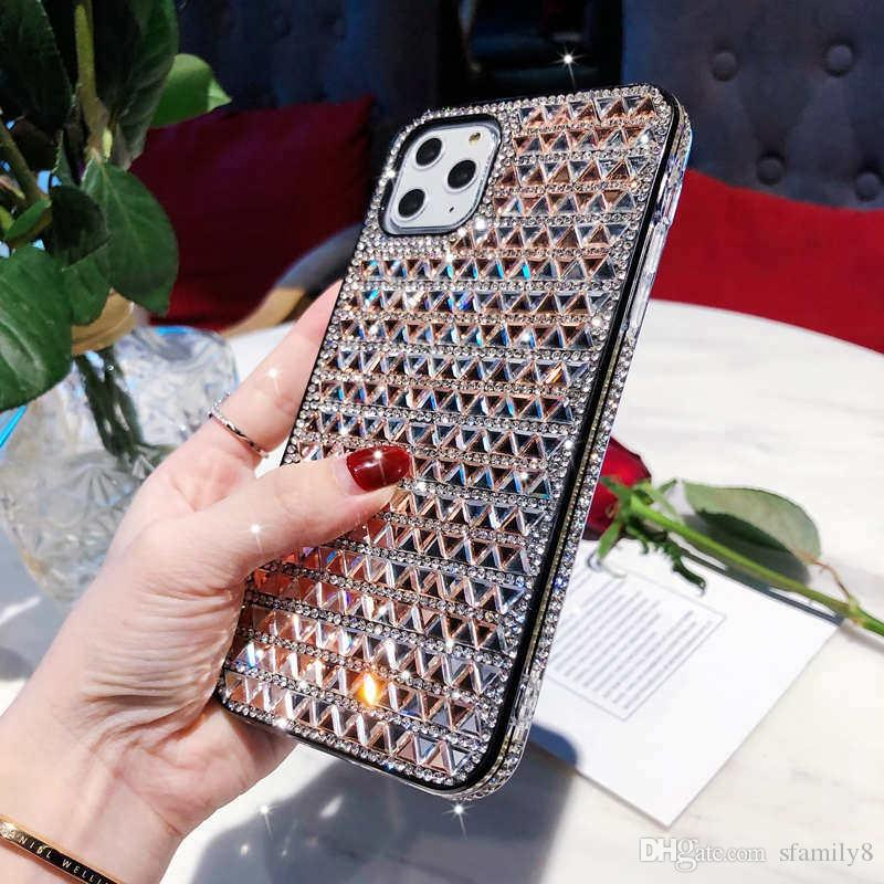 Luxury Designer Triangle Glass Rhinestone Phone Case Full-diamond 2in1 Skidproof Defender Case For iPhone 11 Pro X Xr Xs Max 6 8 Plus