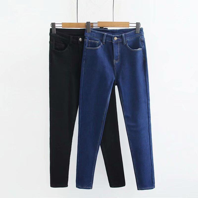 e2730f3664e 2019 Plus Size Casual Jeans Winter Women Clothing Fashion Plus Velvet Thick  Warm Denim Pencil Pants L4 1046 From Seein