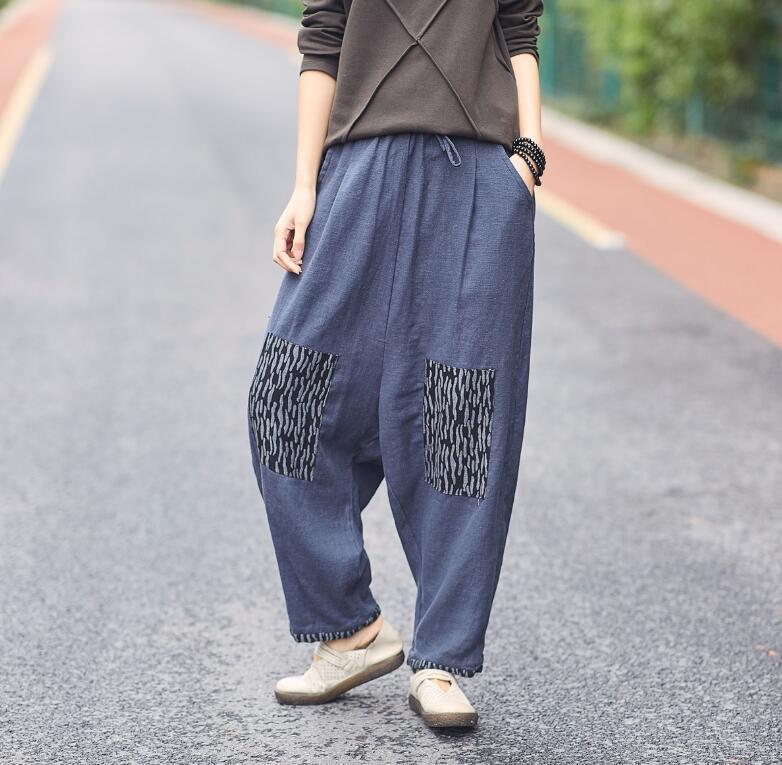 Compre YoYiKamomo Algodón Lino Pantalones De Mujer Maxi Primavera Otoño  2019 Vintage Harem Elástico Bolsillos De Cintura Sueltos Pantalones De Mujer  Casual ... 92f77deff478