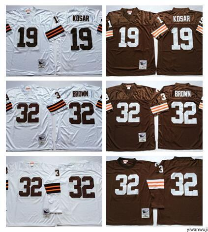 lowest price 04e40 5a6f1 2020 Throwback Cleveland Vintage 19 Bernie Kosar Jerseys Browns Man White  Away Football 32 Jim Brown Jersey Sport Fans High Quality