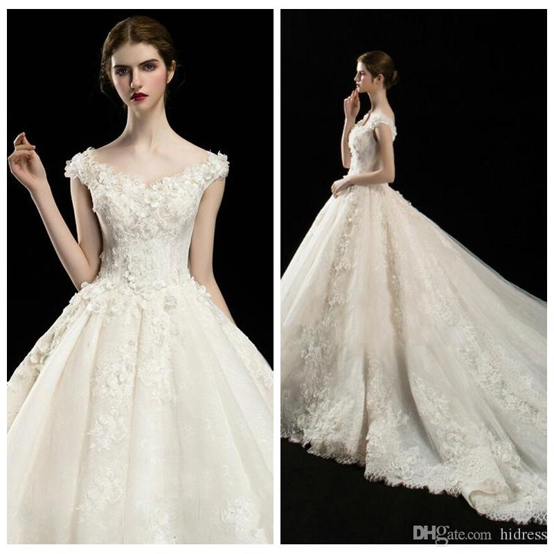 487ba49e1e5e4 Elegant A Line Wedding Dresses V Neck Short Sleeve Lace Dresses Appliquef Lace  Up Cathedral Train Tulle Wedding Gowns Robe De Mariee Sweetheart Ball Gown  ...