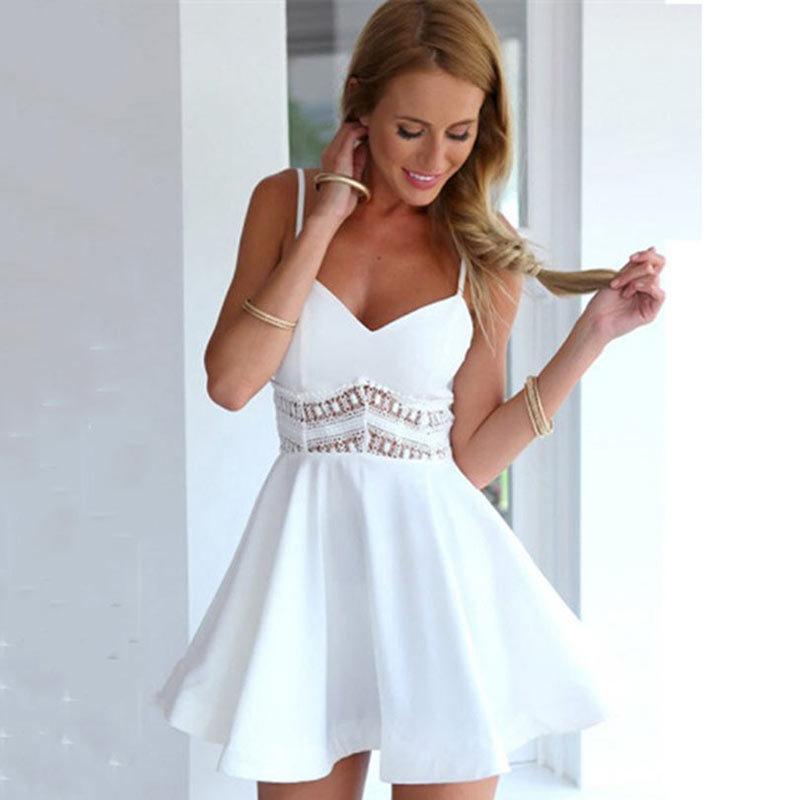 359d4e065590 Vestidos Verano 2019 Summer Dress Fashion Simple Lace Beach Dress Women  Spaghetti Strap Short Sexy Female Dress Women Clothing Dresses Shop For  Womens ...