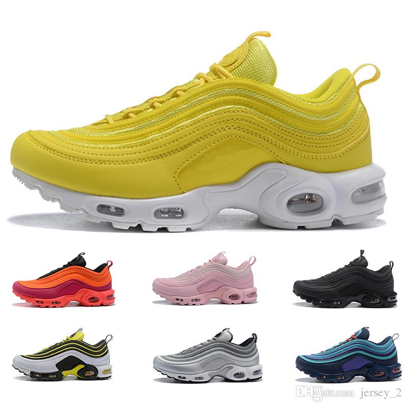 ec10dfce27b67 2019 New 97 Plus Tn Mens Women Running Shoes Black White Yellow Red Trainer Sneakers  Cushion Breathable Men Walking Sports Shoe Best Running Shoes Running ...