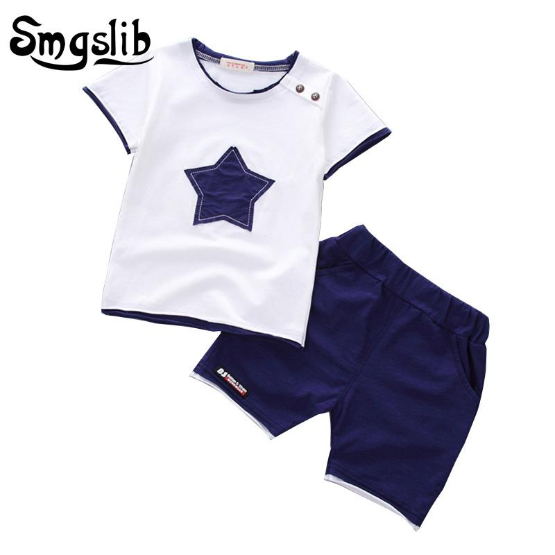 wholesale Baby Boy Clothes summer children clothing Cartoon 2018 New Kids Cotton Cute Stars Sets baby boy outfit costumes