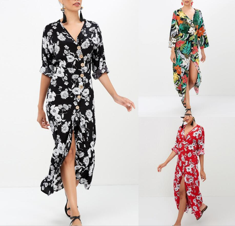Summer Women Floral Bohemian Dresses Fashion Beach Seaside Casual Dress Holiday Clothing