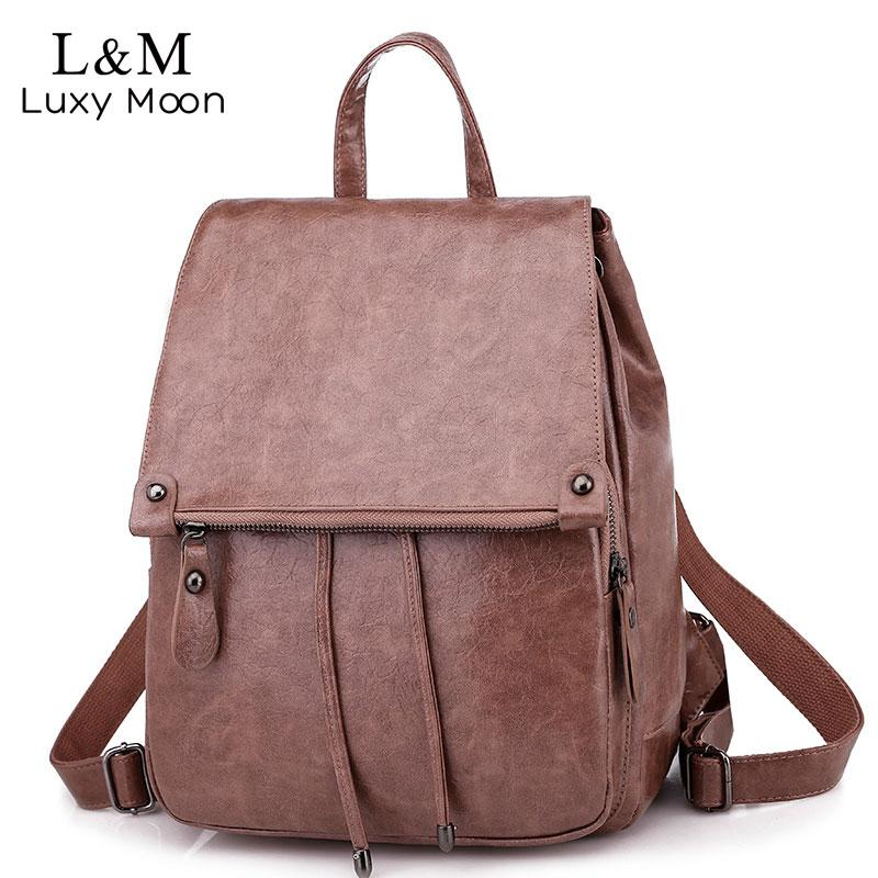 b3f10be229d06 Retro Women Soft Leather Backpack College Preppy School Bags For Student  Drawstring Large Bag Girls Trip Ladies Backpacks XA256H Drawstring Backpack  Black ...