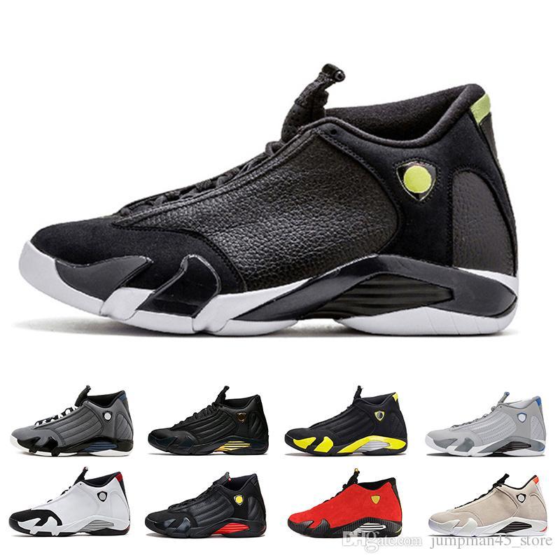 df688ed5a3ff 2019 Wholesale 14 14s Mens Basketball Shoes Indiglo Black Grey Ferrari  Desert SandBlack Toe Thunder Wolf Grey Mens Desinger Trainers Sneakers From  ...