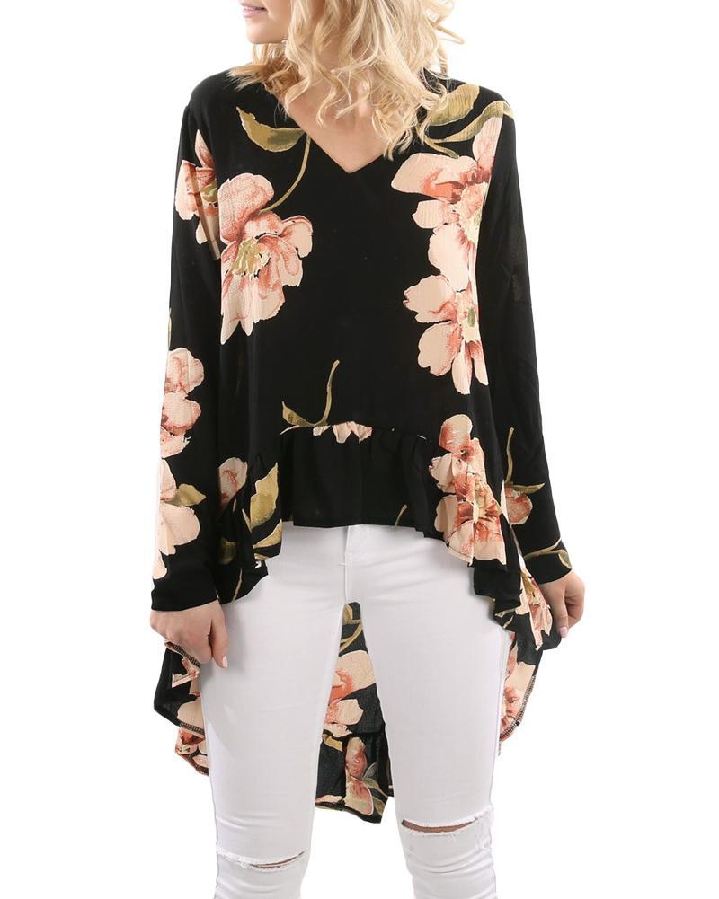 Compre 2019 Otoño Mujeres Blusa De Gasa Estampado Floral Ruffle Alto Bajo  Camisa De Flores Con Cuello En V Manga Larga Casual Vintage Top Blusa Renda  A ... ffca21147b239