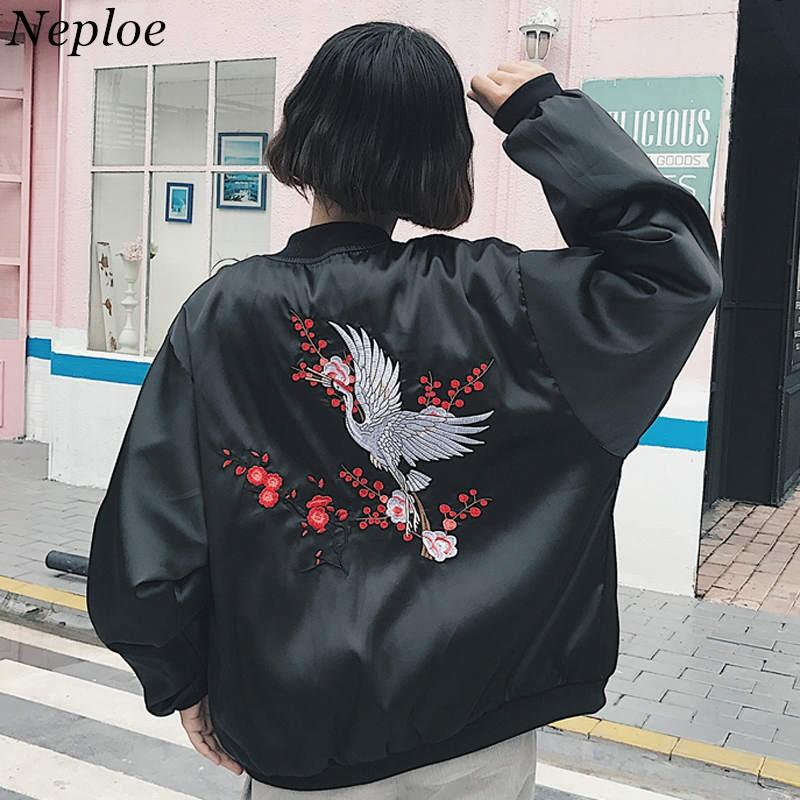 Neploe Harajuku Baseball Jacket Coat Women 2019 New Crane Embroidery Jackets Female Casual Stand Neck Bomber Outwear 37783