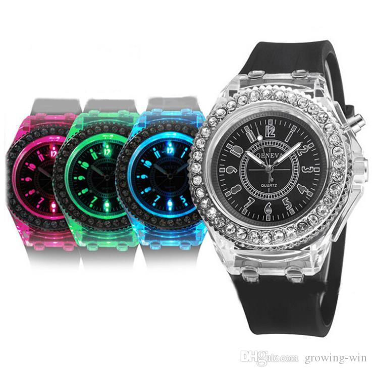 30d2538e9b20c Mens Geneva Diamond Stone Crystal Led Light Watch Unisex Silicone Jelly  Candy Fashion Flash Up Backlight Quartz Watches Online Watches Buy Buying  Watches ...