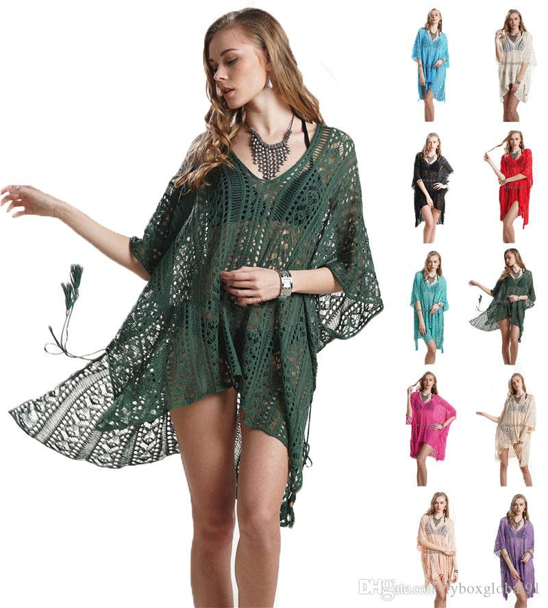8bd0c00fd7 2019 Swimsuit Beach Cover Up Dresses Women Summer Sexy Mesh Knitted Crochet  Swimwear Bikini Cover Ups Wrap Bathing Suit Top Wholesale From  Lyboxglobal91, ...