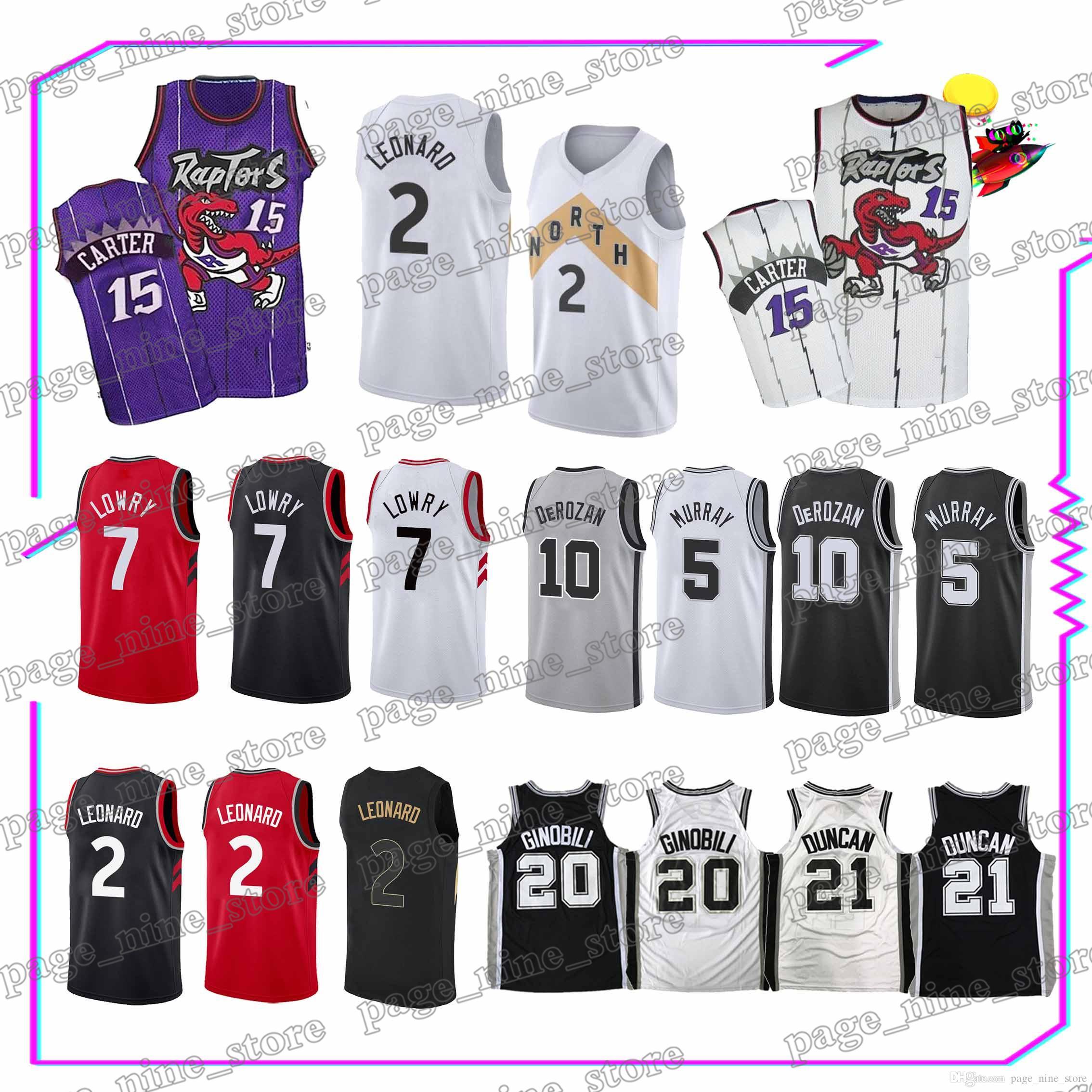 half off e1b10 84270 Toronto Raptors t shirt 7 Kyle Lowry 2 Kawhi Leonard Spurs 10 DeMar DeRozan  20 Manu Ginobili 21 Tim Duncan jerseys