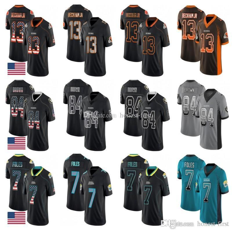 finest selection 6b012 4845e Cleveland 13 Odell Beckham Jr Browns Jersey Jacksonville 7 Nick Foles  Jaguars Oakland 84 Antonio Brown Raiders Stitched Salute to Service