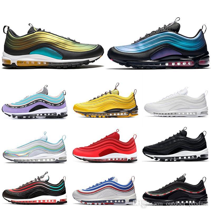 8cce064413 Compre Nike AIR 97 Air Max 97 Estrela Mens Sneakers Designer Almofada  Running Shoes Iridescentes Para Homem Womens Triple S Branco Preto Ginásio  Vermelho ...