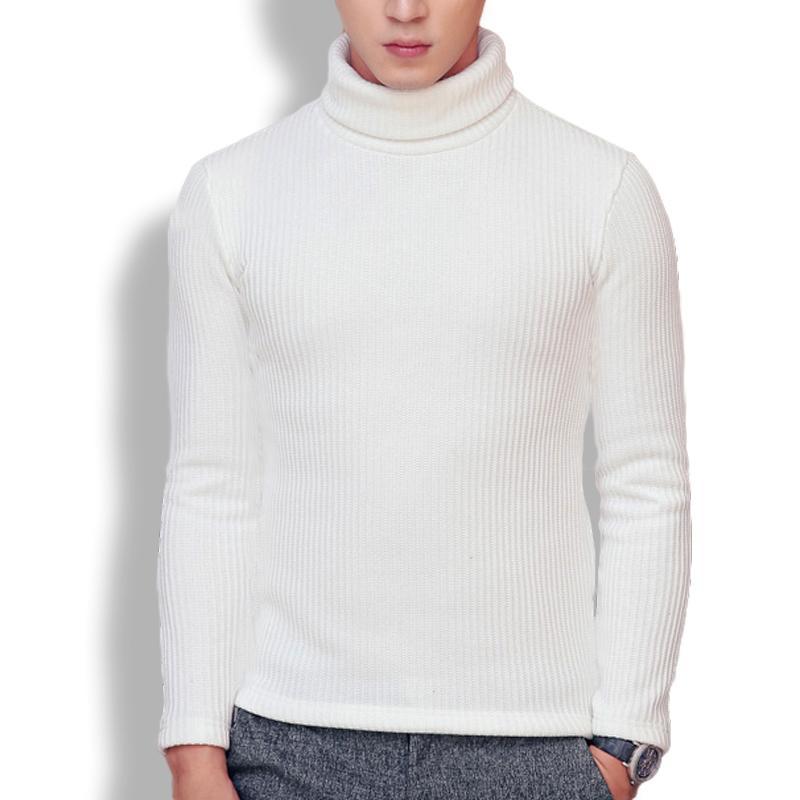 d03d2f139db Men s high neck striped long sleeve winter sweater turtleneck black white  plain pullover men women 6 colors 2018 Asian size SW10