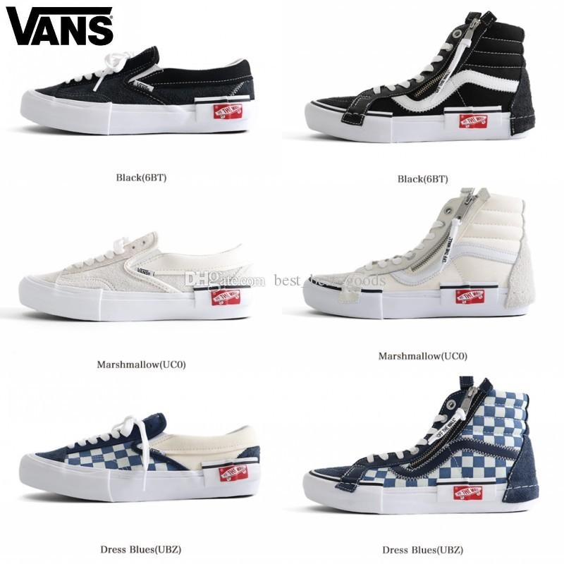 f4c583c8aad Acheter VANS Vieux Skool Slip On Cap LX Hommes Femmes Skateboard Chaussures  Sk8 Hi Sports Zipper Skate Femmes Baskets Toile Designer Sneakers 36 44 De  ...