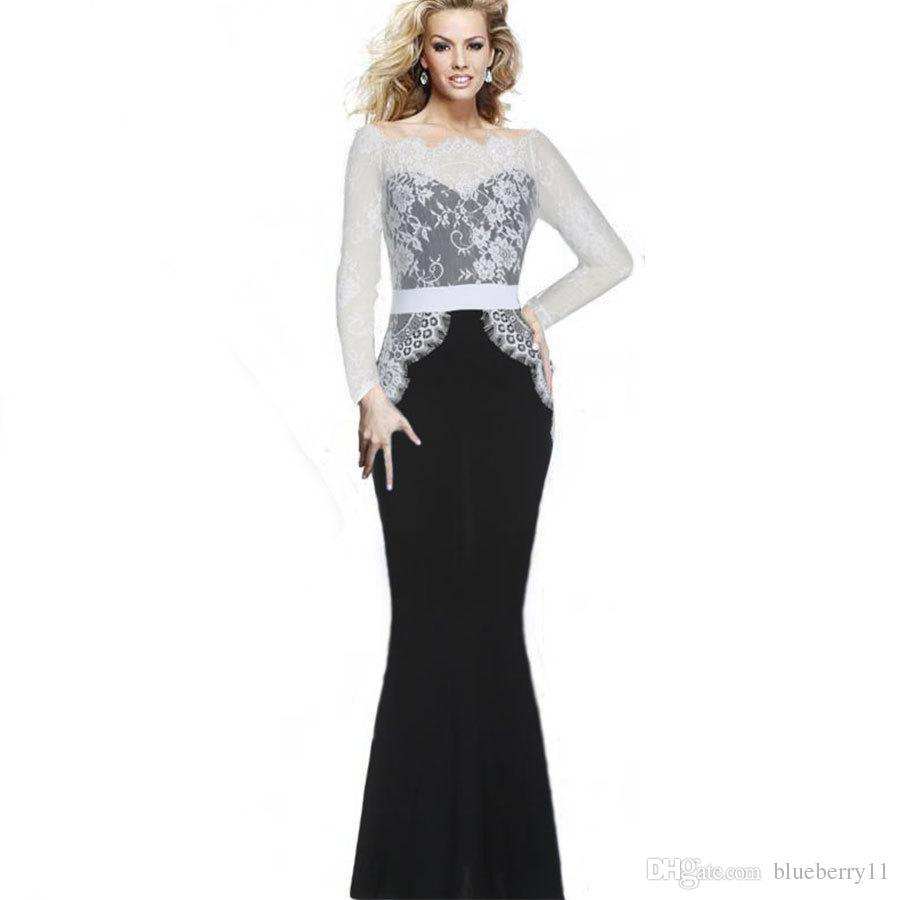 884f7895714 Sexy Mermaid Dresses Long Lace Prom Dresses Elegant Vintage Women Patchwork  Formal Ball Evening Party Maxi Dress Vestidos Plus Size Online with   41.07 Piece ...