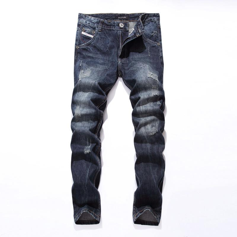 2017 New Dsel Brand Fashion Designer Jeans Men Straight Blue Color Printed Men Jeans Ripped Men