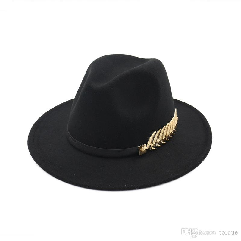 European and American New Big Hats Fashion Metal Leaves Ladies Woolen Hat Jazz Hats British Retro Hats Female Tide