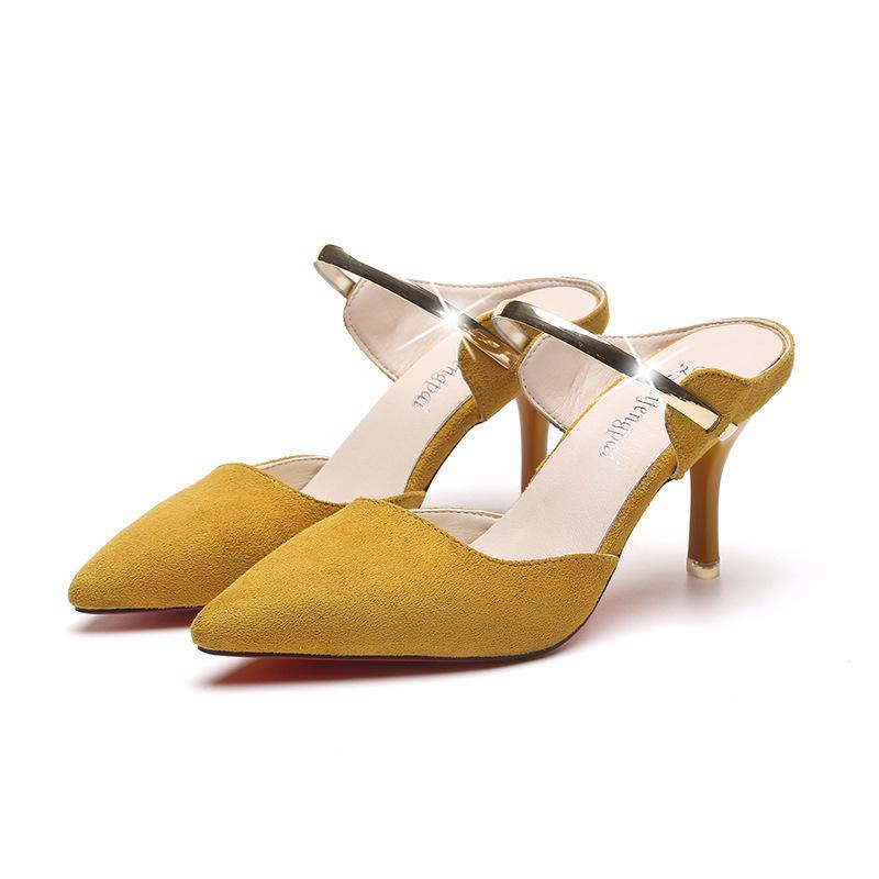 3f3c77e2bdba 2019 Women Shoes Yellow Suede High Heels Pointed Toe Slingbacks Thick High  Heel Pumps Autumn Lady Party Women Heels Dansko Shoes Tennis Shoes From  Bags44