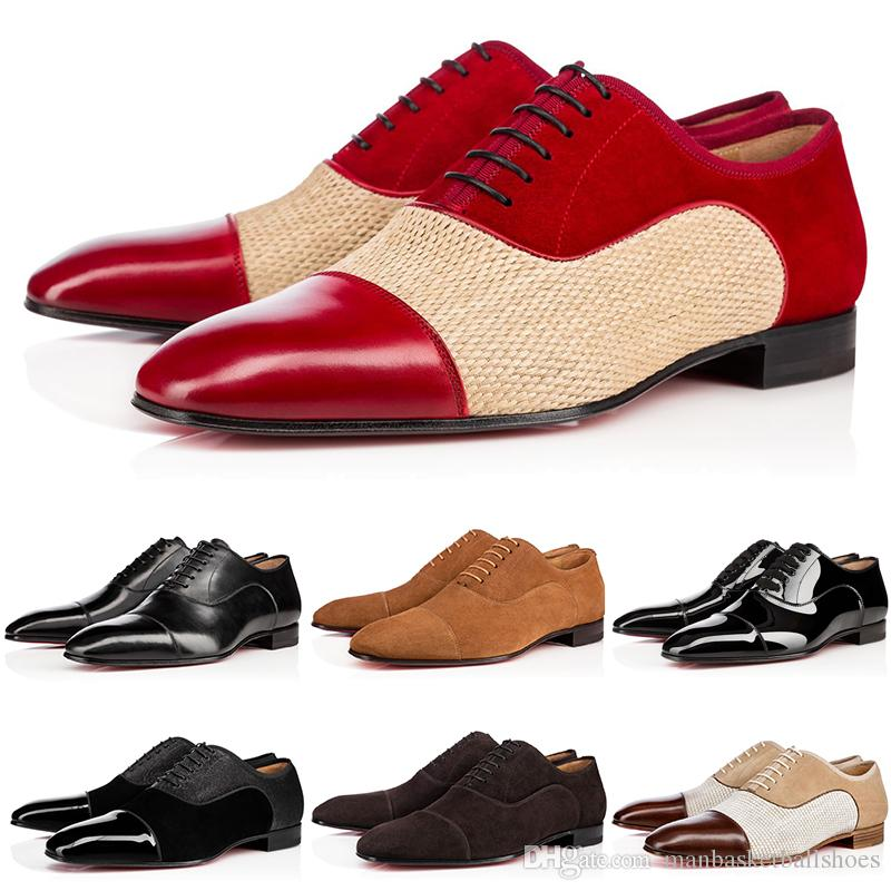 Top Business Gentleman Sneaker Fondo Rosso Greggo Orlato Flats Uomo, Donna Walking Wedding Party Dress Designer Rosso Suola Scarpe libera la nave