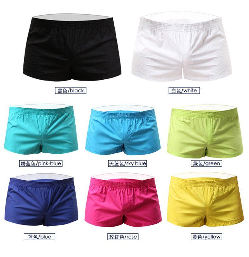 Yaz Erkek Nefes Şort Seksi Katı Pamuk Lens Kılıfı Boxer Külot Kısa Homme Spor Şort Giyim 7 Renk