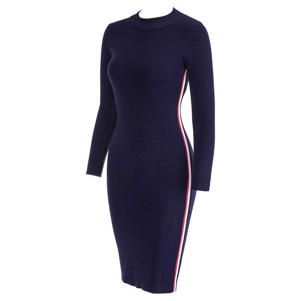 2fa04a0c5 Samuume 2019 Automne Hiver Femmes Rayé Robes En Maille À Manches Longues  Moulantes Sexy Serré Midi Wrap Pull Robe 1810062 D19011604