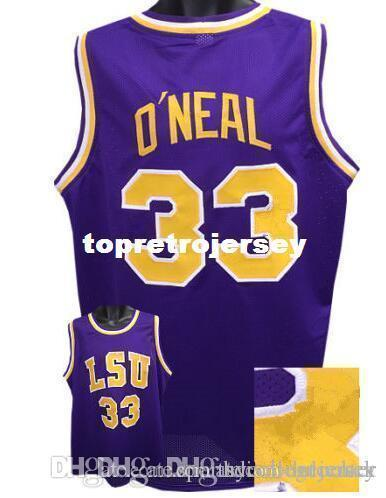 innovative design 363d7 b4a87 Factory Outlet Cheap custom #33 SHAQUILLE O NEAL LSU Tigers Basketball  Jerseys Purple yellow Stitched Customized Any Name And Number Jersey