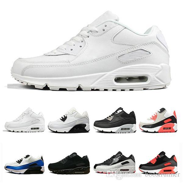 Clásico 90 hombres mujeres zapatos para correr negro rojo blanco entrenador deportivo superficie de colchón de aire transpirable zapatos deportivos
