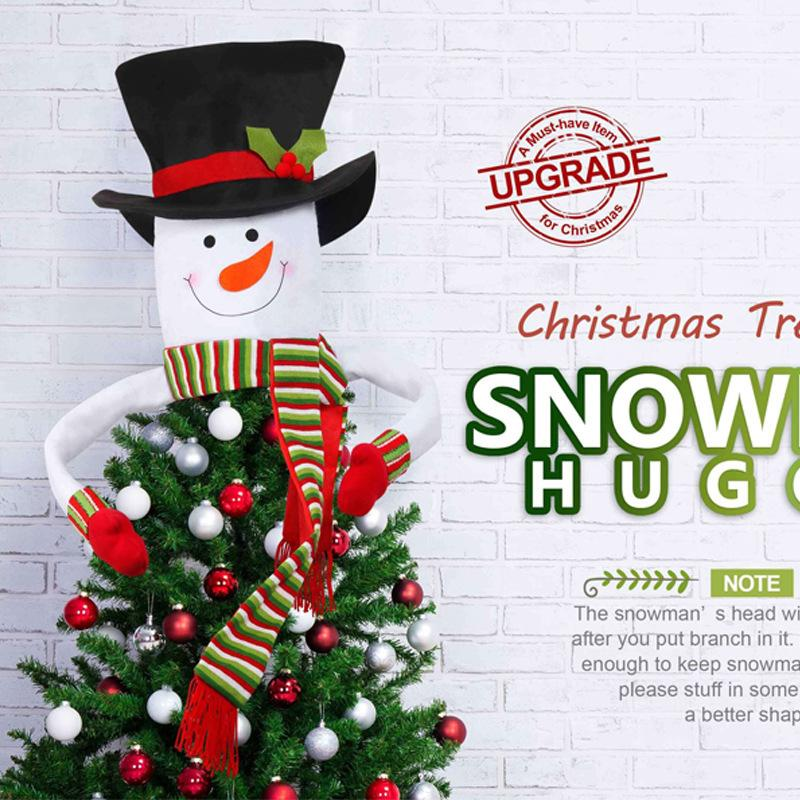 Outdoor Snowman Christmas Decorations.Large Snowman Christmas Tree Toppers Christmas Ornaments On The Tree New Year S Products Home Outdoor With Scarf Hat New Year S